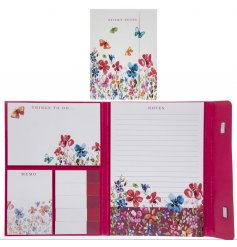 Filled with colourful butterflies and flowers, this pink toned organiser set is perfect for keeping notes and memos
