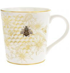 A stylish Fine China Mug with an added luxe golden beehive inspired decal