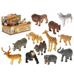 An assortment of 12 wild animals in a colour display box.