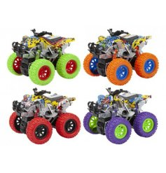 Have big adventures with this assortment of 4 colourful graffiti stunt bikes with monster wheels.