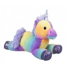 A cute and snuggly unicorn soft toy with a colourful pastel rainbow design.