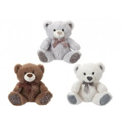 A mix of 3 traditional bears. Each has a smiling face and ribbon bow and comes in grey, brown and white colours.