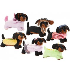 An adorable mix of snuggly soft sausage dog toys, each dressed up in fancy dress!