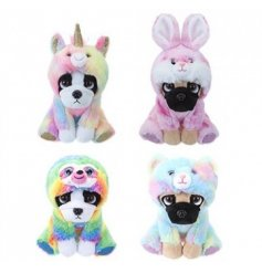 An assortment of 4 soft toy dogs each with a colourful animal rainbow onesie