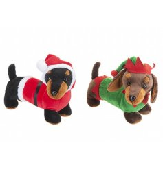 A mix of festive themed sausage dog soft toys