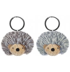 a mix of grey and beige toned hedgehog keyrings