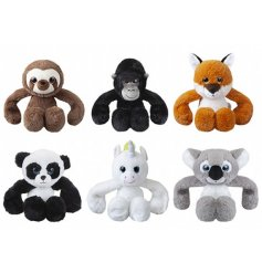 An assortment of super soft animals toys with heavy bean filled arms that makes it feel like they give real hugs!