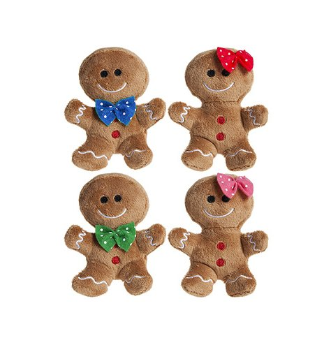 An adorable assortment of tasty looking Gingerbread Boy and Girl soft toys with added details