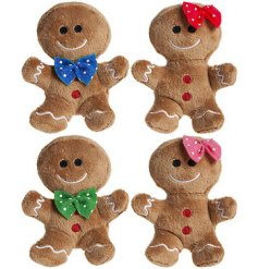 A festive themed assortment of Gingerbread Boy and Girl soft toys complete with gumdrop buttons