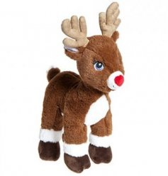 Standing cuddly Rudolph the reindeer with embroidered cute eyes.