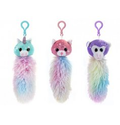 Three mystical creatures with long fluffy tails perfect to pop on your school bag to help identify it.