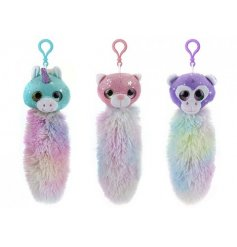 Three pastel coloured mystical creatures with fluffy tails to clip where ever you feel necessary.