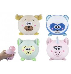 Four assorted cuddly characters when squeezed reveal a squidgy glitter ball.