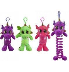 Funky dragons with expanding spring bodies to clip-on childrens school bags.