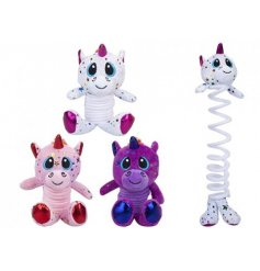 Funky unicorns with expanding spring bodies to clip-on children's school bags.