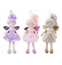An assortment of 3 charming fairy dolls, each with woollen hair and sparkly wings.