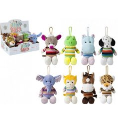 A mix of 8 plush and knitted soft toy animals in a variety of colours and designs.