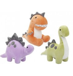 An assortment of 3 super soft dinosaur toys in a range of species and colours.