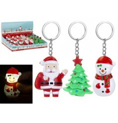 A mix of festive themed keychains, each with its own sound and LED glow
