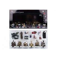 A set of 25 traditional Christmas decorations to create an enchanting village scene. Complete with light up houses.