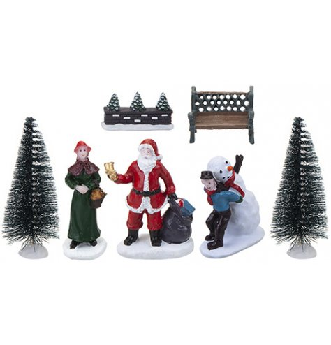 An assortment of Village themed scene pieces with added frosty touches