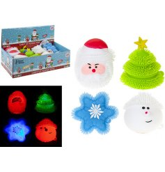 A fun and festive assortment of Christmas Squishy Puffy Toys with added LED flashing lights