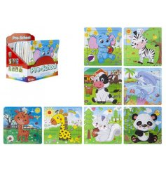 Animal themed preschool wooden puzzles presented in a counter display box.