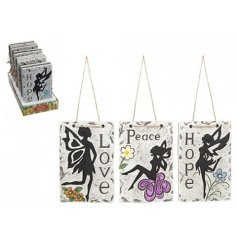 Three assorted hanging plaques with a garden fairy theme.