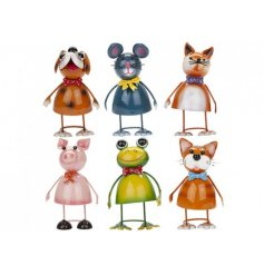 Six brightly coloured animal ornaments with quirky accessories.