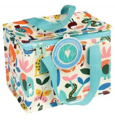An eco-friendly and super stylish insulated lunch bag with a bright and bold wild wonders design.