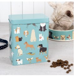 A colourful, cute and quirky dog food storage tin keeping food fresh.