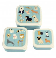 A light blue toned set of lunch boxes in various sizes that conveniently store in one with a quirky dog doodle print on