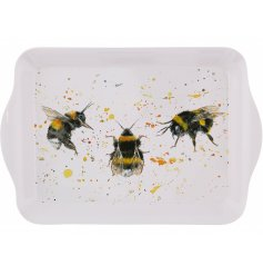 A small serving tray with a watercolour inspired bumble bee decal on the front