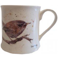 A sleek fine china mug featuring a cute watercolour inspired Wren decal