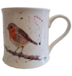 A stylish fine china mug decorated with a Robin Red Breast decal