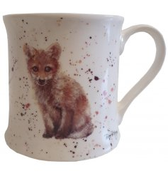 A fine china mug featuring a watercolour fox decal from the Bree Merryn Range