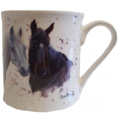 A fine china mug with a detailed print of 2 horses