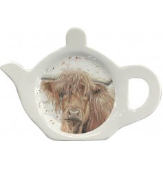 A practical tea bag tidy decorated with a charming, country living highland cow design.