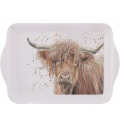 A fine quality and beautifully illustrated highland cow tray.
