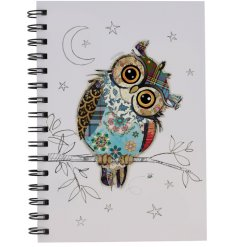 A small spiral spine notebook decorated with a Owen Owl print from the Bug Art Range
