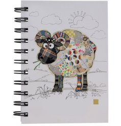 an A6 sized hardback notebook with a quirky Raymond Ram printed design