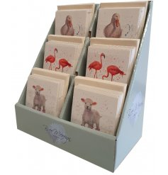 A display stand of cuties in booties printed greetings card,