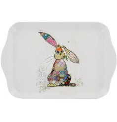 a white melamine serving tray with a colourful Binky Bunny Decal