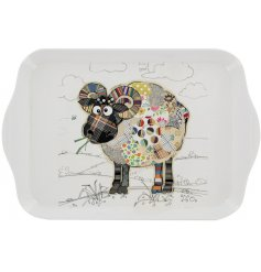 A small white melamine serving tray with a colourful Raymond Ram Decal