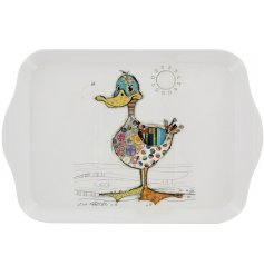 A small melamine serving tray with a cute Dotty Duck decal