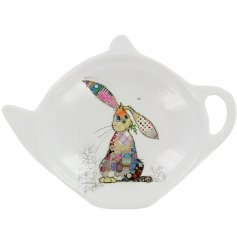 A small white plastic teabag tidy with a cute Binky Bunny decal