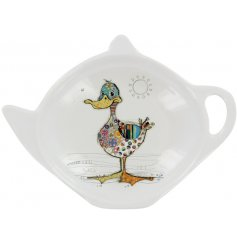 A small white plastic teabag tidy with a colourful Dotty Duck Decal
