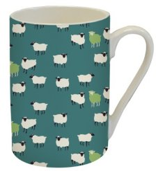 A charming green toned fine china mug covered with a quirky sheep decal