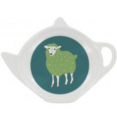 A stylish green plastic tea bag tidy decorated with a sheep design