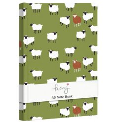 A charming green toned hardback notebook covered with a quirky sheep decal
